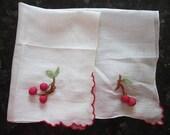 vintage handkerchief with SILK CHERRIES