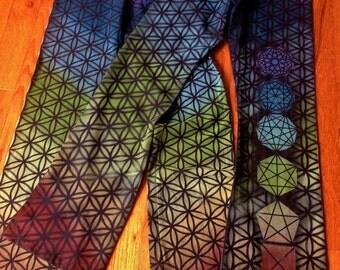 Flower of Life Yoga Pants Sacred Geometry Yoga Pants with Color Spectrum & Geometric Chakras Totem