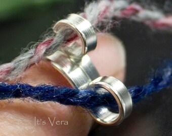 Original sterling silver ring,  1 loop ring, 2 loop ring, silver crochet ring, knitting ring, knitting, sterling silver rings, crochet tools