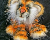 Sameena a 7.5 inch faux fur and mohair airbrushed sculpted tiger