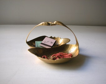 Brass Swan Dish with Handle
