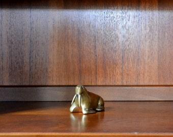vintage brass walrus figurine