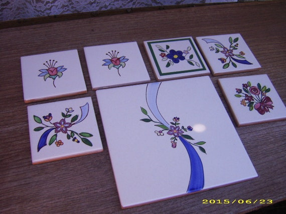 Seven (7) Vintage Italian Hand Painted Tiles