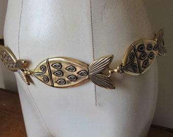 Vintage Boho Hippie Gold Tone Metallic Fish Chain Belt