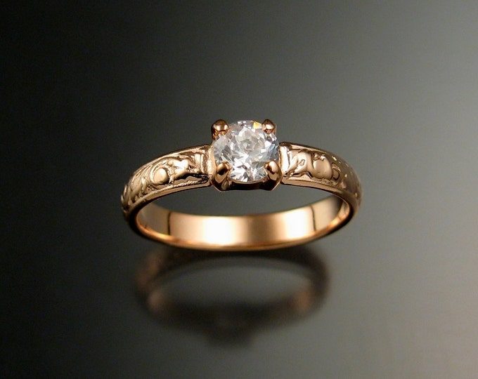White Zircon Wedding ring 14k rose Gold Diamond substitute ring made to order in your size