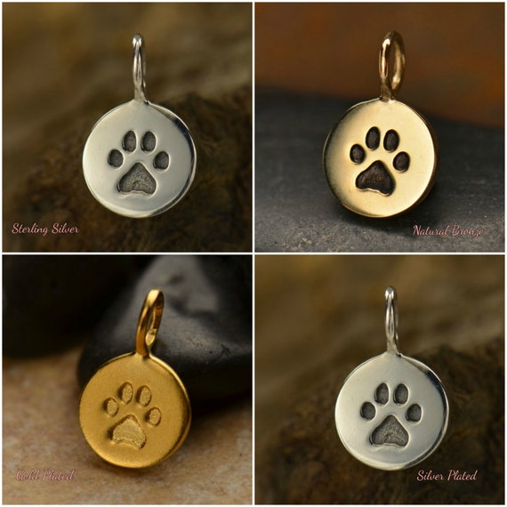 Paw Print Charm - Choose From Sterling Silver, Gold Plated, Bronze Or Silver Plated, Pet Charms, Mans Best Friend, C682