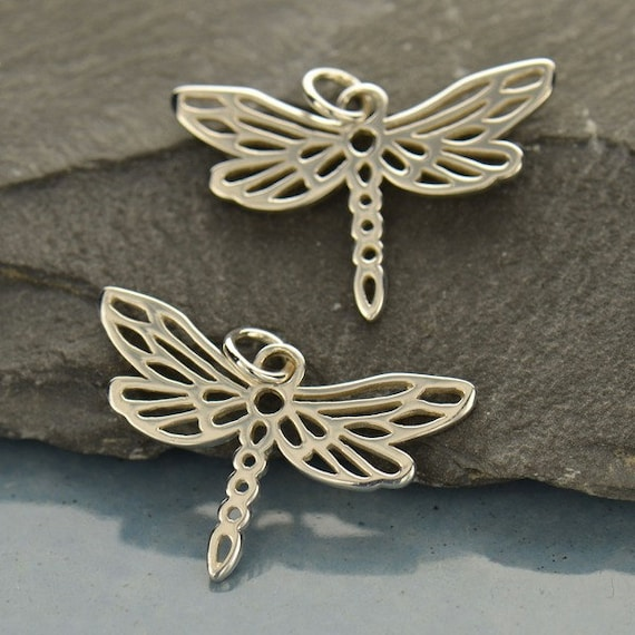 Small Sterling Silver Dragonfly Charm - C567, Insect Charms, Springtime