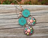 Patina Metal Dangle Earrings - Colorful Painted Flower Medallion Rounds - Hippie Earrings - Boho