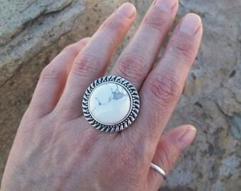 Boho Ring, Bohemian White Howlite gemstone ring, silver and gemstone ring, adjustable ring, large stone gypsy ring