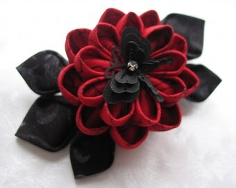 Flames and Embers Red and Black Kanzashi Flower Hair Clip
