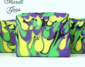 MARDI GRAS soap - with fresh cream and silk - cp by Bonny Bubbles