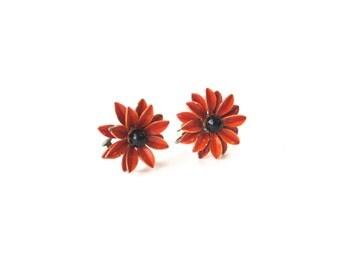 vintage clip-on earrings, clip on earrings, floral earrings, orange earrings, enamel earrings, flower power, flower earrings