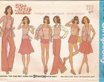Vintage 70s Mix n' Match Wardrobe Pattern -Cardigan Top Skirt Pants Shorts Belt -Simplicity 6973 -Size 12 -Stretch Knits & Woven Fabric