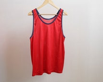 RED mesh sportswear TANK TOP surfer hip hop style 80s basketball nba activewear vintage small mens shirt top