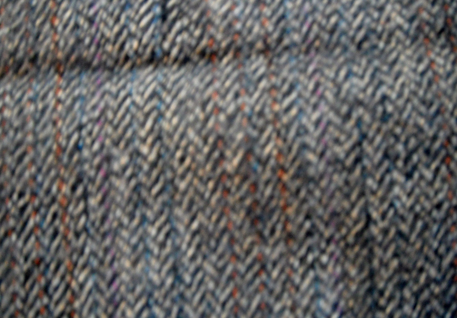 Wool Fabric or Wool Blend Blue Grey Herringbone by ...