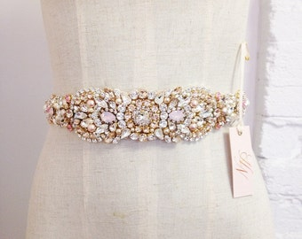 Blush and Gold Crystal Bridal Sash- Crystal Bridal Belt- Custom Swarovski Bridal Belt- Crystal and Opal Bridal Sash