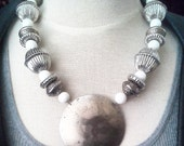 Vintage Aged Silver Circle Pendant Necklace w vintage silver beads, white shell beads - 24 inch