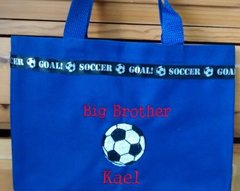 Big brother bag- embroidered soccer ball- personalized at NO additional charge