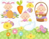 Easter Baby Girl Cute Digital Clipart, Easter Baby Clipart - Easter Clip art, Easter Graphics, Baby in Easter Basket, Easter Egg Clip art