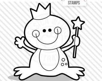 Princess Frog Cute Digital Stamp, Fairytale Frog Blackline, Frog Black and White Outline, Princess Frog Line Art, Instant Download