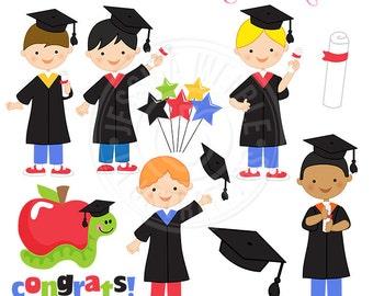 Graduation Boys Cute Digital Clipart, Graduation clip art, Boys Graduation graphics, Graduation Cap Clipart, Instant Digital Download