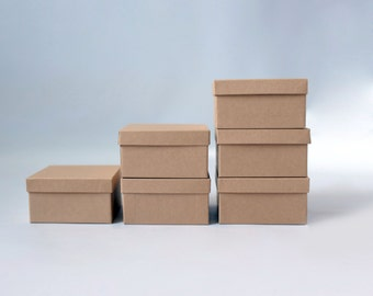 """20- Square Kraft Jewelry Boxes 3-1/2 x 3-1/2x - 1-7/8""""  filled with cotton     
