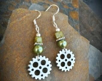 Green Gear Sterling Silver Earrings, Green Gear Sterling Silver Earrings, Gear Silver Earrings