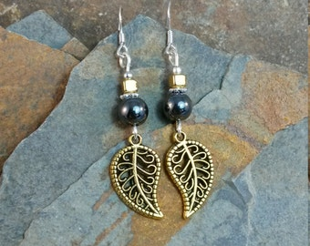 Gold Leaf and Black Silver Sterling Silver Earrings, Gold Leaf Sterling Silver Dangle Earrings, Gold Leaf Earrings