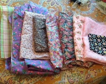 Vintage Fabrics in Pink Cotton Quilting Calico Floral Flowers