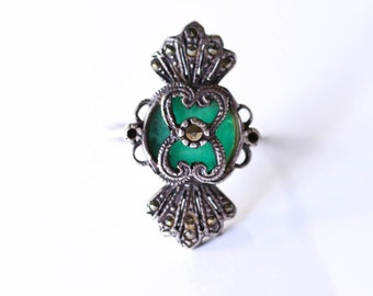 Sterling Marcasite Ring  Jade Ring Vintage Size 8