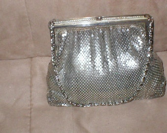 Vintage Silver Metal-Mesh Evening Purse by WHITING and DAVIS