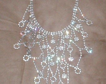 WOW...Vintage Estate Rhinestone Bib Necklace