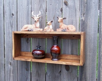 Rustic 2 Tier Crate Wall shelf
