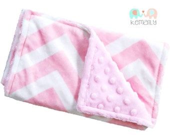 Pink Chevron Double Minky Burp Cloth Modern - Burp Rag - Baby Gift - Feeding - Nursing - New Mom Essentials - Burp Cloths - Baby Shower Gift