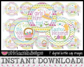 """Everybunny Loves Me - INSTANT DOWNLOAD 1"""" Bottle Cap Images 4x6 - 640"""