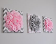 """Pink and Gray Flower Wall Hangings - 12 x 12 """" Canvases - Chevron Wall Art - Baby Nursery Wall Decor -"""