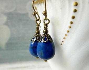 Teardrop Lapis Earrings Lapis Lazuli Earrings Grade AB Dark Blue Earrings Antique Brass Bohemian Sapphire Teardrops  Birthstone Gift Women