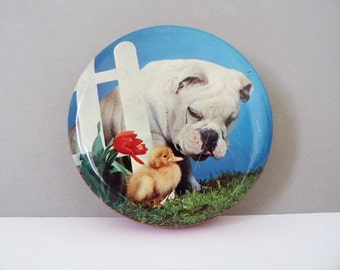 Vintage English toffee tin Bull dog and chick