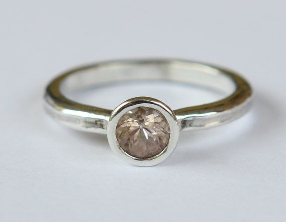 Hammer Forged .70ct Natural Morganite Pink Emerald And Argentium Sterling Silver Ring SZ 8