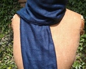 navy blue wool and silk herringbone scarf