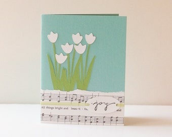 Music and Tulips- Handmade Greeting Card - robins egg blue, green, ivory, garden, baby, friendship, birthday