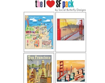San Francisco Note Card Set - I Love SFO Note Cards - Vintage San Francisco Cards - Map of San Francisco - Golden Gate Bridge Note Cards