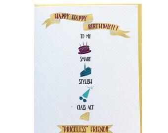 """A """"Priceless Friend"""" BFF Birthday Card"""