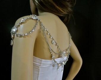 Bridal  Rhinestone Necklace,  Rhinestone Wedding Necklace, Bridal Rhinestone Jewelry, Statement Rhinestone Necklace