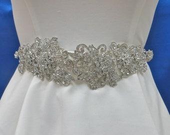 Wedding Bridal Sash, Rhinestone Wedding Sash, Bling Crystal Sash, Sparkling Swarovski Sash