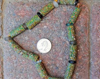 Antique Millefiori Beads: 12 Beads