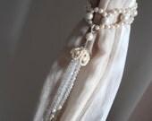 SET OF 2 handmade decorative curtain tiebacks faux pearls, clear glass crystals  tassels drapery holders - tie backs curtain