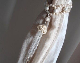 PAIR OF handmade decorative curtain tiebacks faux pearls, clear glass crystals  tassels drapery holders - tie backs curtain