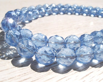 SET OF 2 decorative clear blue curtain tiebacks, Bohemian crystals, drapery holders,  tie backs curtain