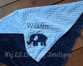 personalized baby blanket- sky blue and navy blue elephant- 30x35 stroller blanket